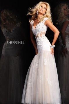 Fehér Sherri Hill 21012 Ruha