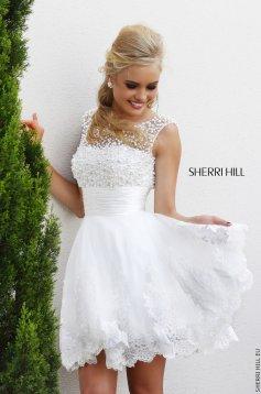 Fehér Sherri Hill 4302 Ruha