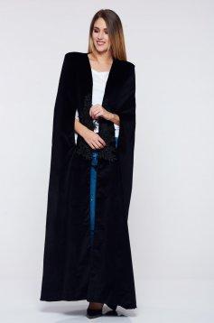 Fekete PrettyGirl ballonkabát hímzett betétekkel belső béléssel