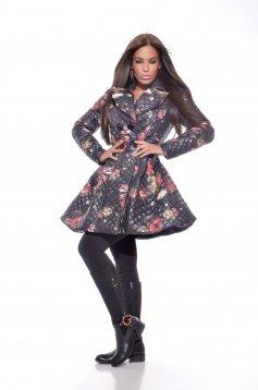 Fekete MissQ Warm Flowers Kabát