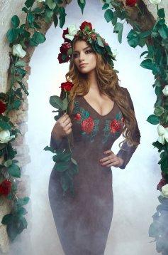 Barna StarShinerS Hímzett Rose Secret Ruha