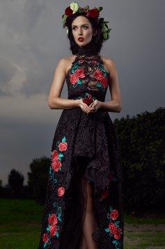 Fekete StarShinerS Brodata Rose Temptation Ruha