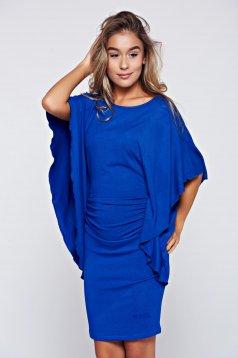 Kék MissQ hétköznapi ruha pillangó típusú ujjakkal