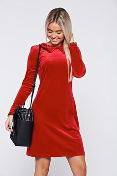 Piros Fofy bő szabású elegáns bársony ruha
