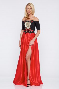 Piros Artista hímzett alkalmi ruha szatén anyagból