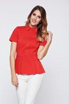 Piros PrettyGirl irodai női ing rakott részek