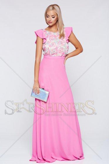 Rózsaszínű StarShinerS hosszú alkalmi harang alakú ruha