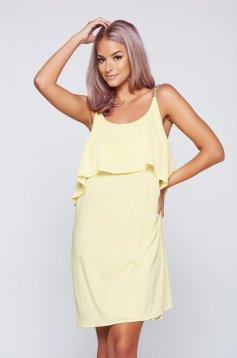 Sárga StarShinerS bő szabású ruha fátyol anyagból