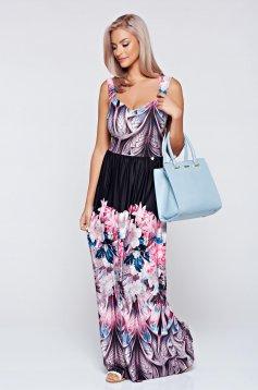 Fekete MissQ hosszú harang alakú ruha nyomtatott mintával