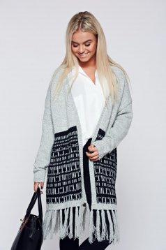 Világosszürke Top Secret hétköznapi kötött rojtos pulóver