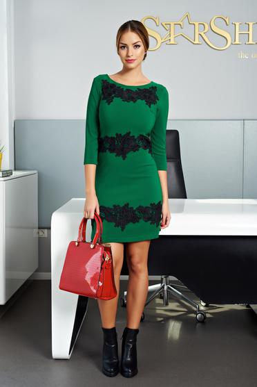 Zöld LaDonna elegáns hímzett ruha
