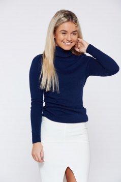 Kék Top Secret hétköznapi magasnyakú kötött pulóver