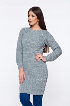 Szürke MissQ hétköznapi pulóver kötött vastag anyag