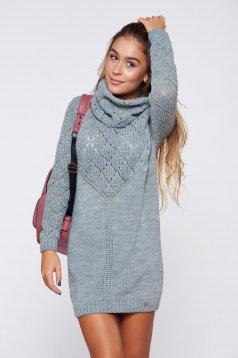Szürke MissQ hosszú kötött magasnyakú pulóver