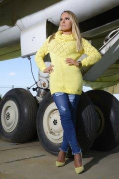 Sárga MissQ hosszú kötött magasnyakú pulóver