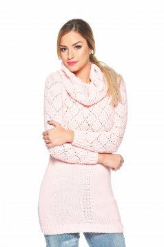 Rózsaszínű MissQ hosszú kötött magasnyakú pulóver