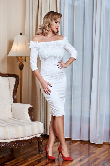Fehér StarShinerS vállon hordható alkalmi ruha