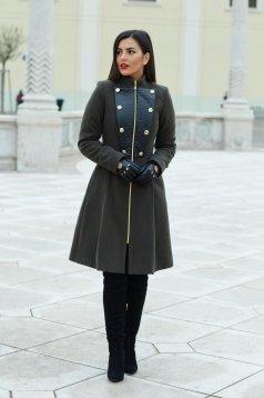 Sötétzöld LaDonna Military Lady Nagykabát