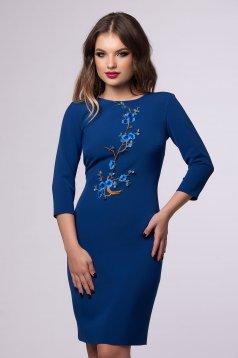 Kék Floral Embroidery Ruha