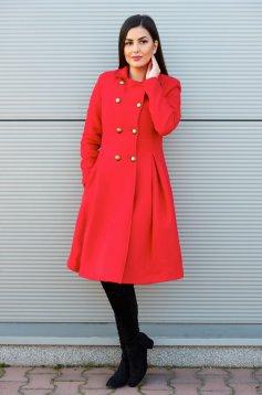 Piros PrettyGirl Military Style Nagykabát