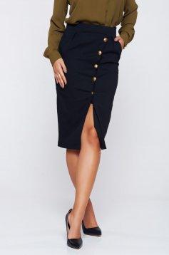 Fekete PrettyGirl irodai szoknya gombos kiegészítőkkel és zsebekkel