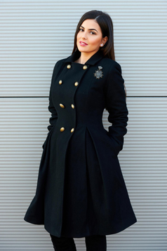 Fekete PrettyGirl Military Style Nagykabát