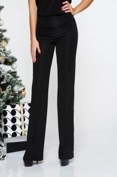 Fekete Fofy magas derekú elegáns nadrág rugalmas és finom anyag deréktól bővülő szabás gomb kiegészítőkkel