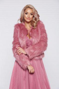 Rózsaszínű StarShinerS elegáns műszőrme zakó belső béléssel
