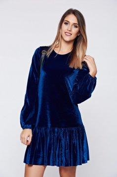 Kék PrettyGirl bő szabású alkalmi bársony ruha