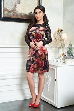 Fekete LaDonna Stylish Roses Ruha