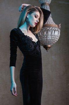 Fekete LaDonna Embroidered Velvet Ruha