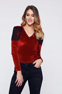 Piros PrettyGirl elegáns bársony body rojtos