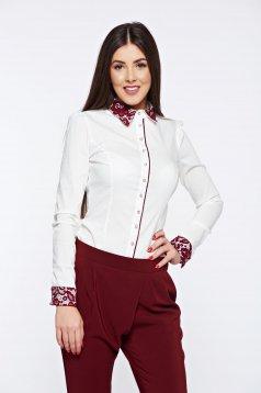 Burgundy Fofy rugalmas pamut irodai női ing csipke díszítéssel