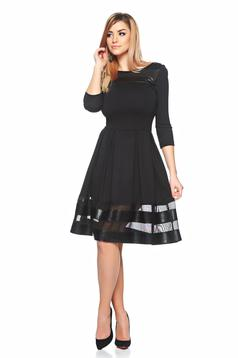 Fekete StarShinerS elegáns harang alakú ruha tűlel