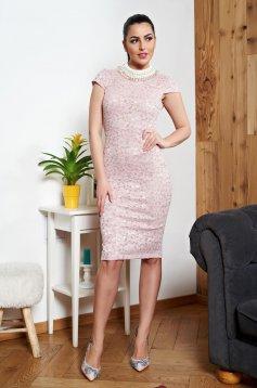 Rózsaszínű StarShinerS alkalmi ruha csipkés anyagból