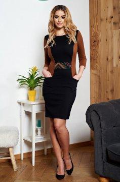 Fekete StarShinerS zsebes ruha grafikai díszítéssel