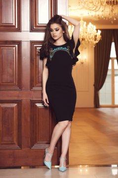Fekete StarShinerS ruha kivágott hátrésszel gyöngyös díszítéssel