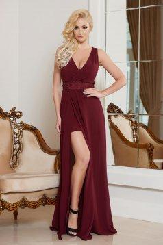 Burgundy StarShinerS hosszú elegáns ruha v-dekoltázzsal