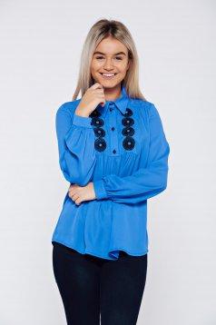 Kék LaDonna elegáns bő szabású hímzett női blúz