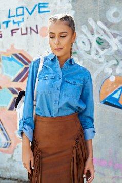 Kék Top Secret hosszú ujjú női ing farmerarnyagból