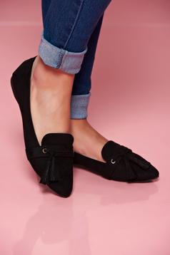 Fekete Top Secret bojtos cipő enyhén hegyes orral