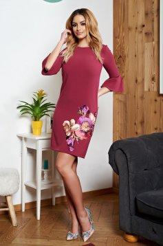 Burgundy StarShinerS hímzett bő szabású ruha