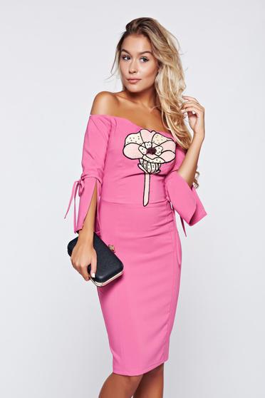 Pink Artista váll nélküli ceruza ruha
