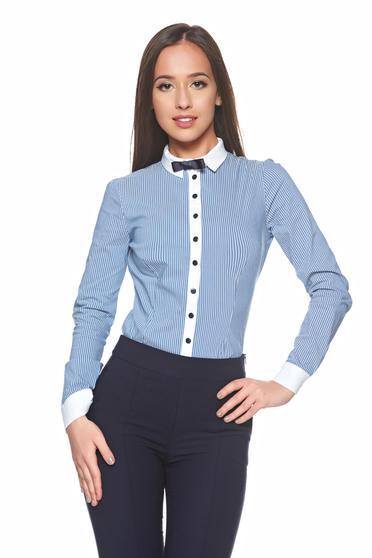 Kék Fofy pamutból készült irodai női ing masni alakú kiegészítővel