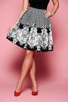 Fekete Fofy Square Lace Print Szoknya