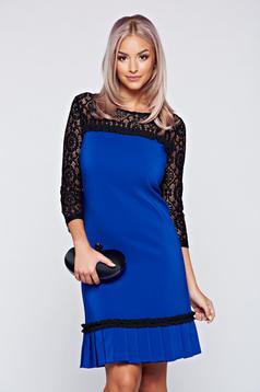 Kék LaDonna csipke ujjú ruha rakott részekkel