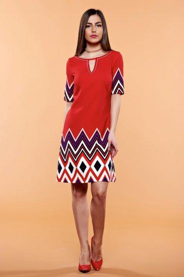 Piros LaDonna bő szabás grafikai minta ruha