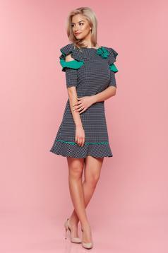 Zöld LaDonna pöttyös ruha pillangó típusú ujjakkal