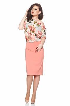 Barackvirágszínű PrettyGirl egy vállas virágmintás ruha