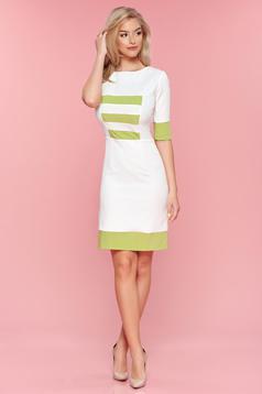 Világos zöld hétköznapi PrettyGirl ruha vízszintes csíkok